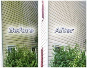 Home Siding Pressure Washed-before and after powerwashing