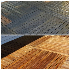 Wood surface before & after cleaned
